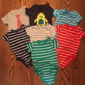 7 Carters short sleeve onesies